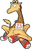 Vector cartoon illustration of sitting giraffe with red sport shoes.