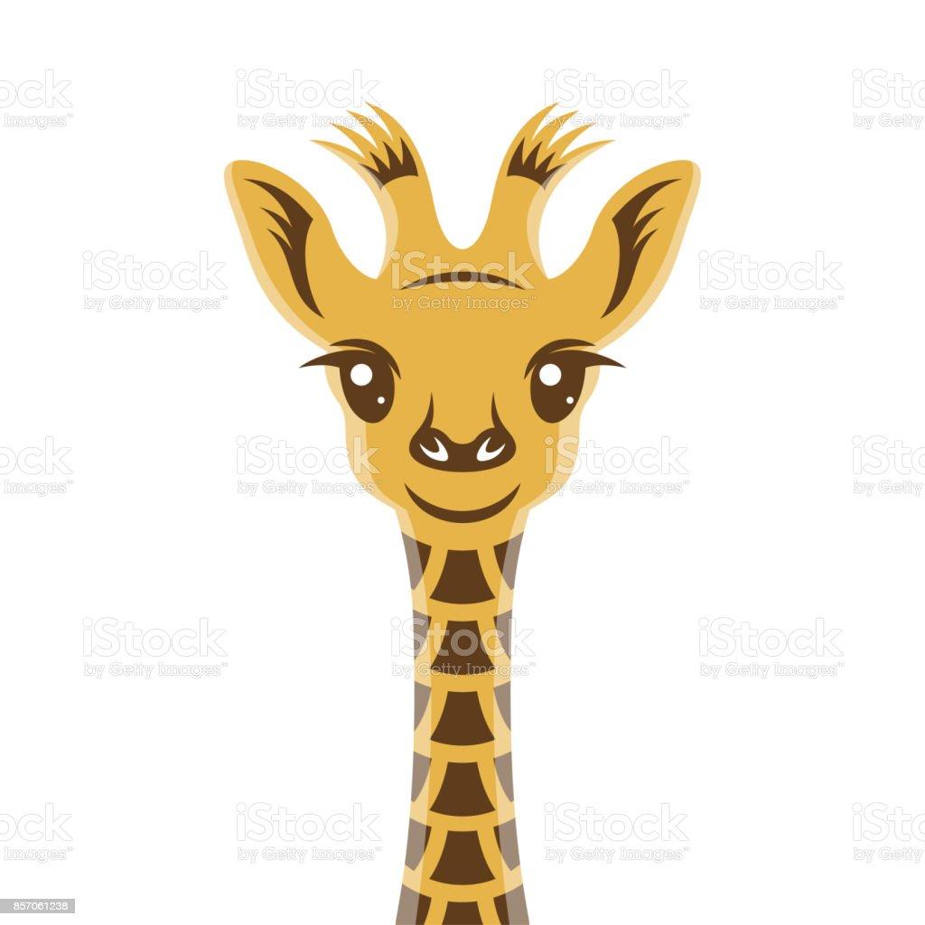 Giraffee Baby Cartoon Style Portrait Nursery Vintage Vector ...