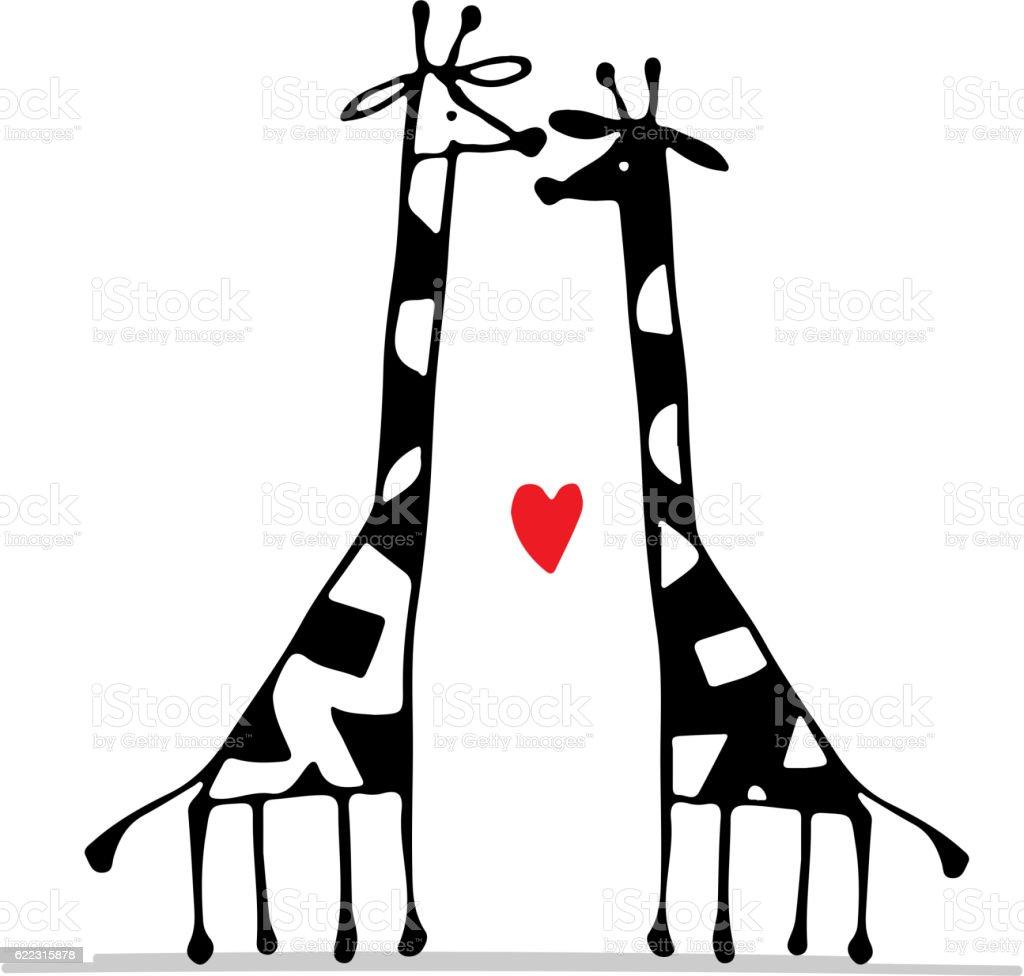 Giraffes Couple In Love Sketch For Your Design Stock Vector Art