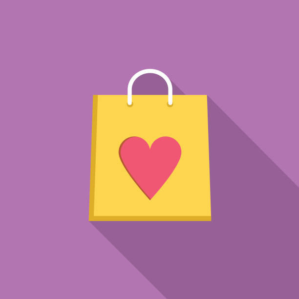 Girft Bag Party Icon With Long Side Shadow vector art illustration