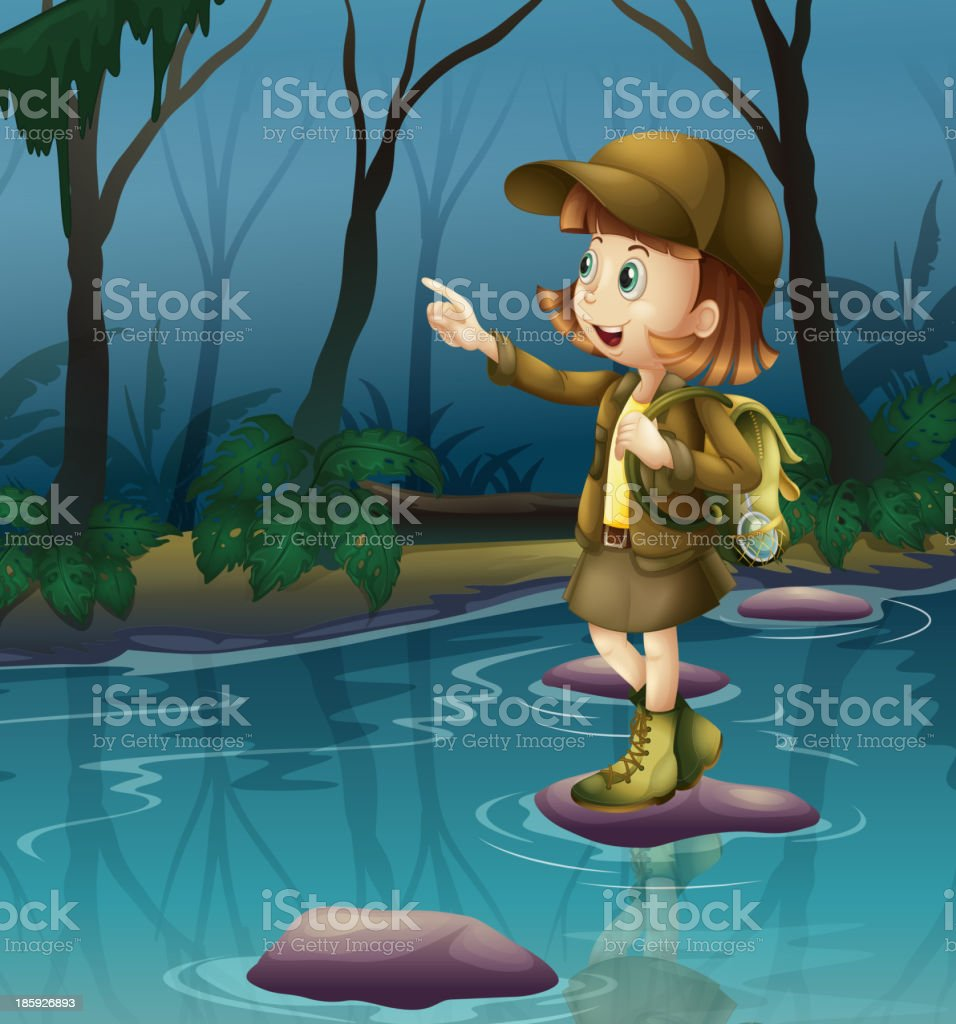 girl above a rock in the river royalty-free girl above a rock in the river stock vector art & more images of adult