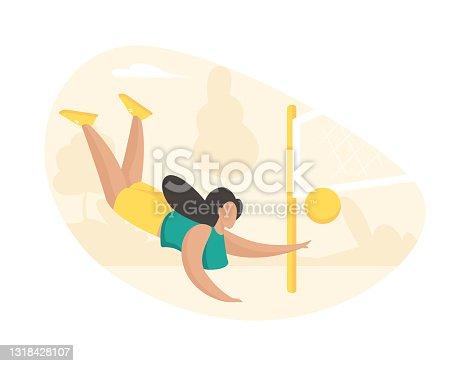 Girl actively playing volleyball. Beautiful sportive woman in fall hits ball through net