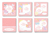 Girl album set. Covers and pages of pink photo book for new born girl.