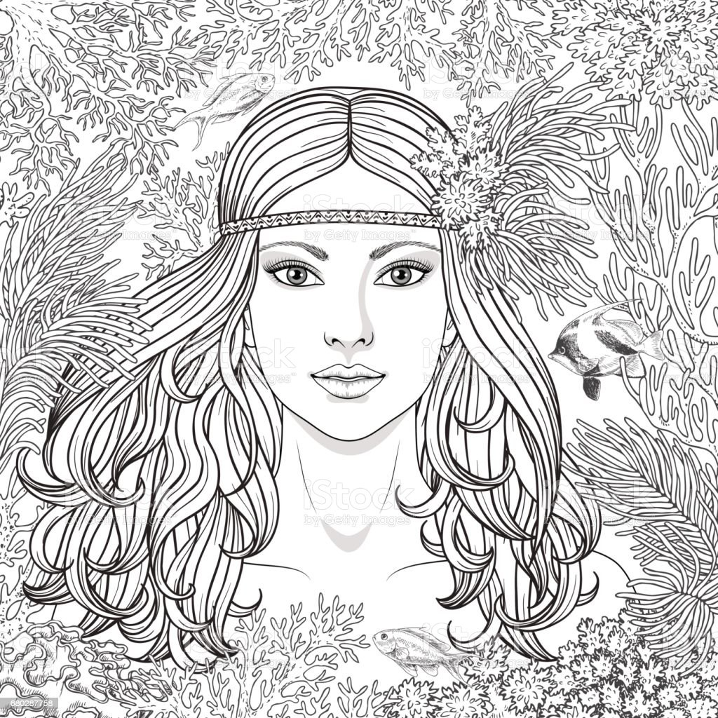 Girl Among The Corals Coloring Page Stock Vector Art More Images
