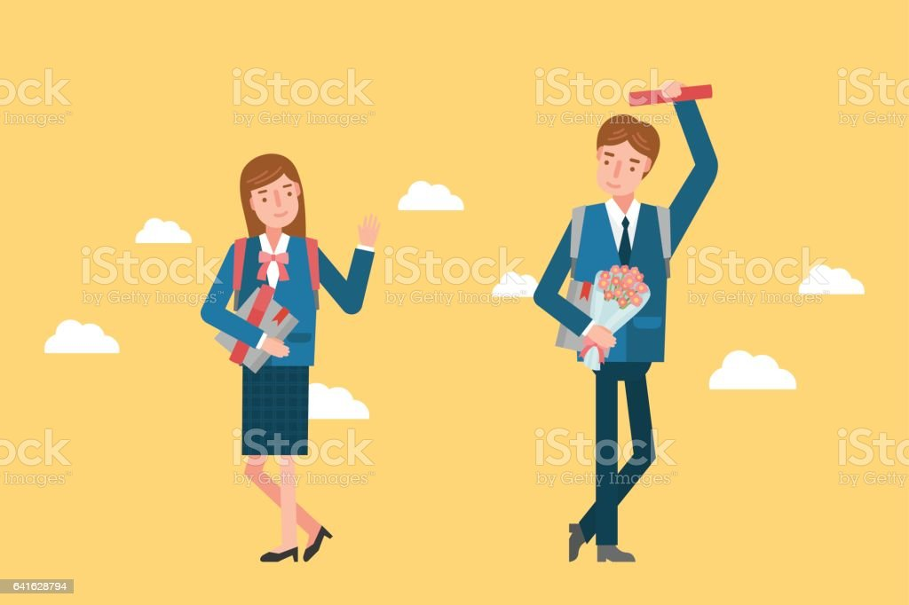 A girl and a boy are greeting each other and they are wearing a a girl and a boy are greeting each other and they are wearing a school m4hsunfo