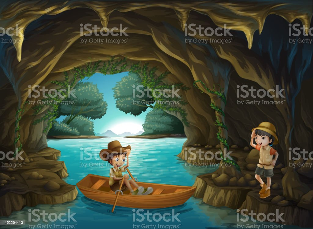 girl and a boy at the cave royalty-free stock vector art