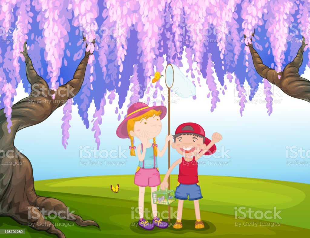 girl and a boy catching butterfly at the park royalty-free stock vector art