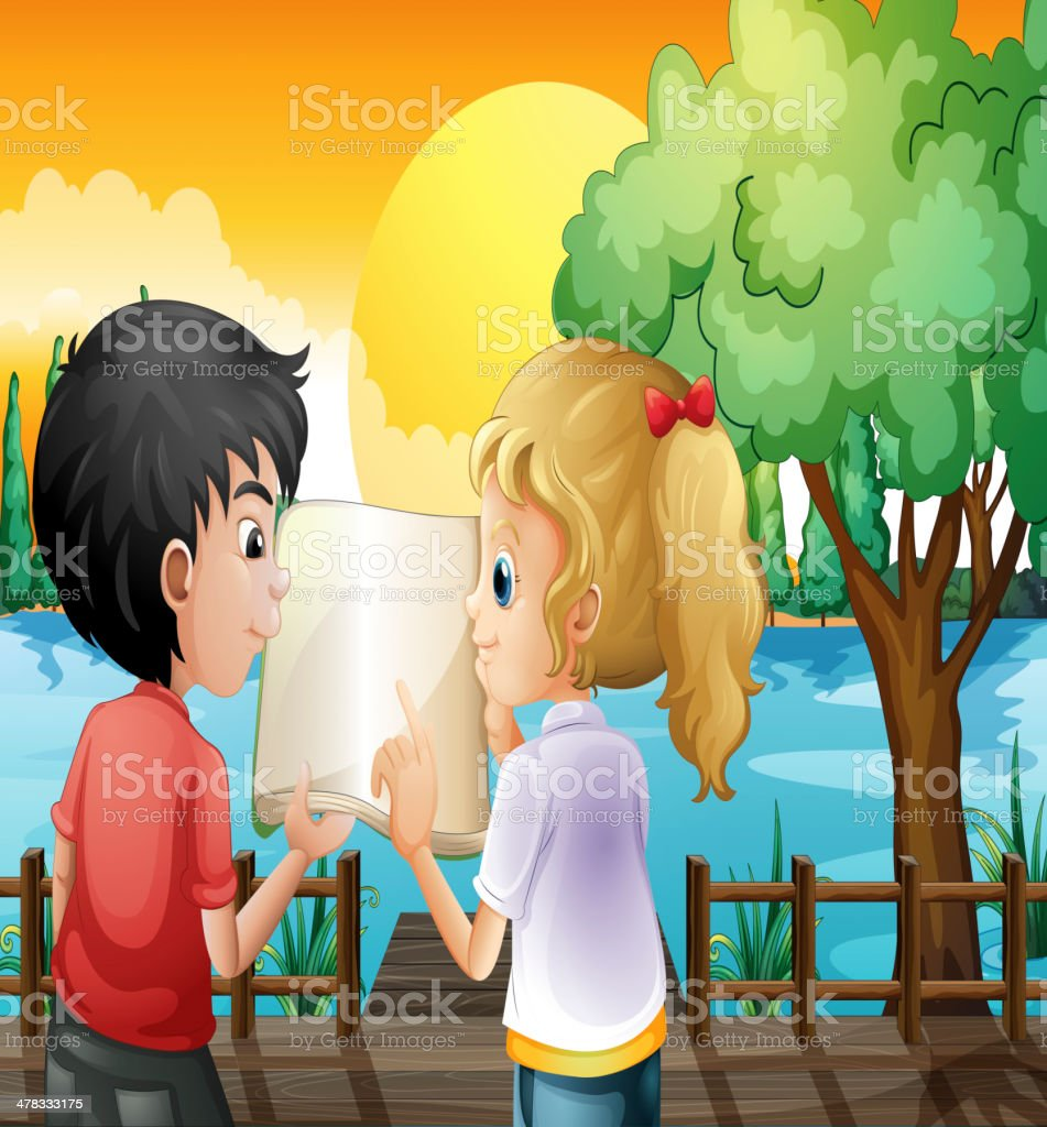 Girl and a boy discussing at the wooden bridge royalty-free stock vector art
