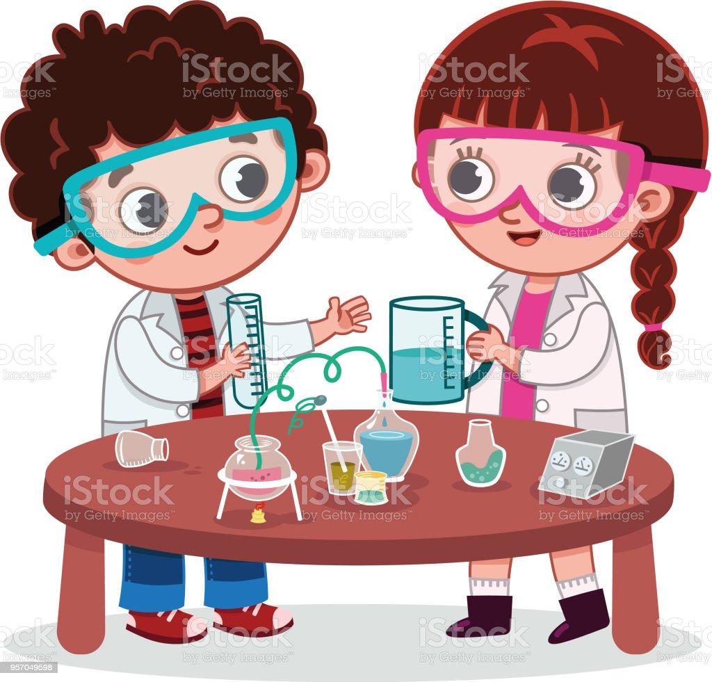 Uma menina e um menino de alunos no laboratório de Ciências - ilustração de arte em vetor