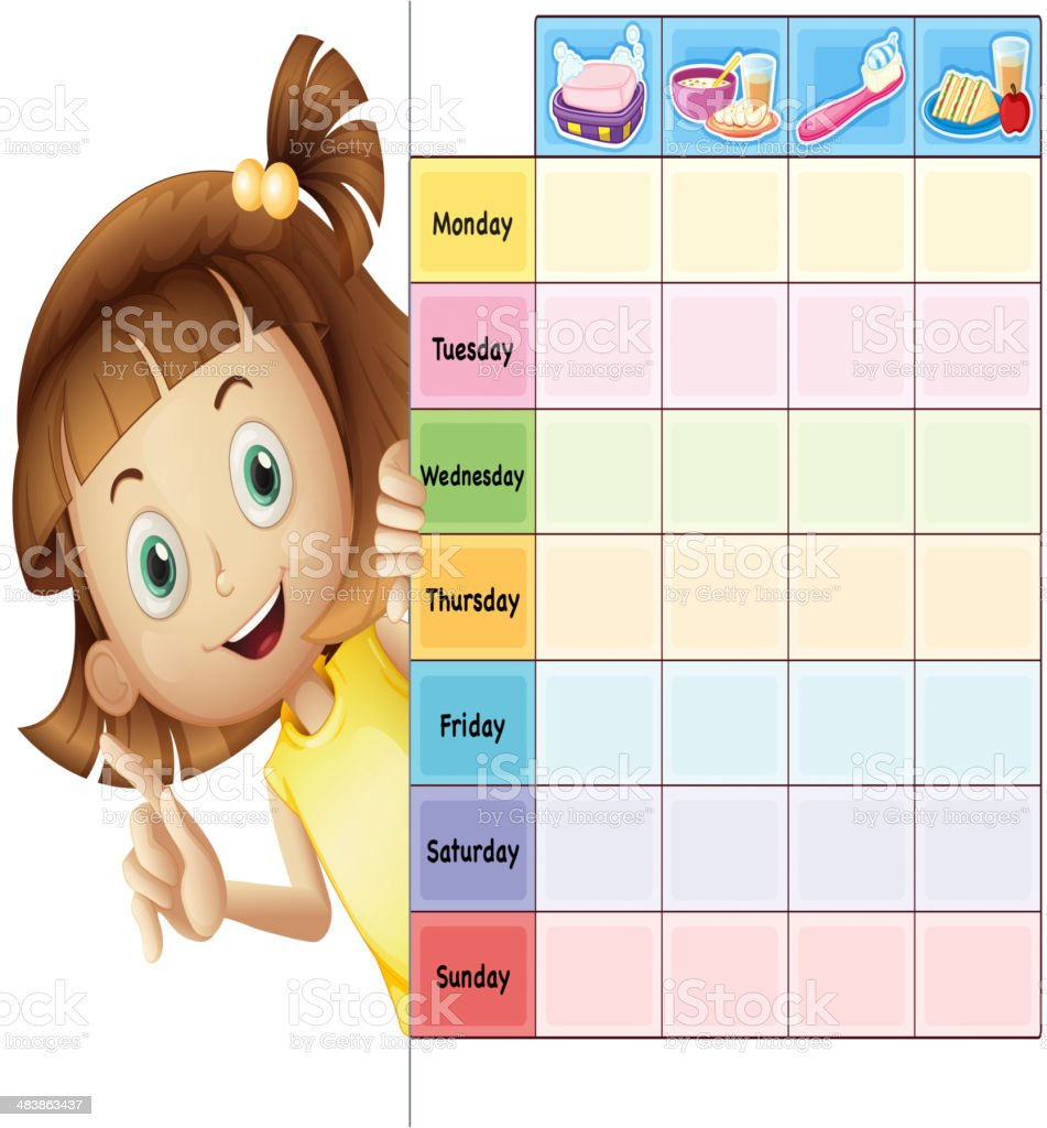 Girl and a calender vector art illustration