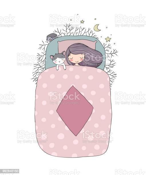 Girl and a cat sleep in bed good night vector id992845150?b=1&k=6&m=992845150&s=612x612&h=z52isbidwfdm2mc6wy5om7oq455lnfr hxh417xcb1u=