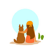 girl and a dog sitting together backside view,  best friends cute vector illustration scene