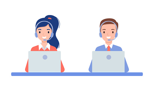 A girl and a guy in headphones, the concept of a call center and online customer support. Vector illustration in flat style.