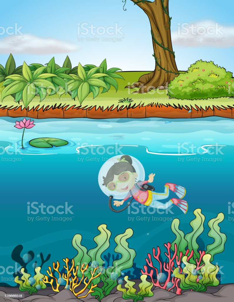 girl and a river royalty-free girl and a river stock vector art & more images of illustration
