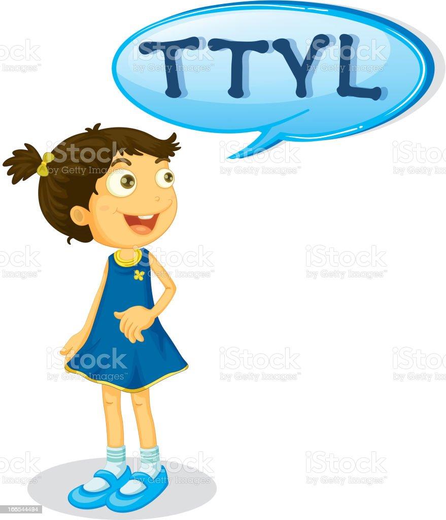 Girl and a speech bubble royalty-free stock vector art