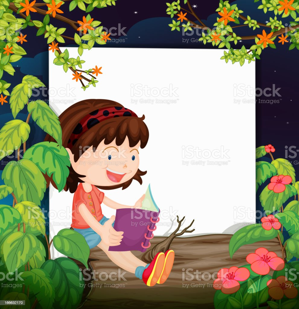 Girl and a white board royalty-free stock vector art