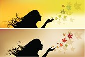 Illustration of a young girl scattering leafs on fall.