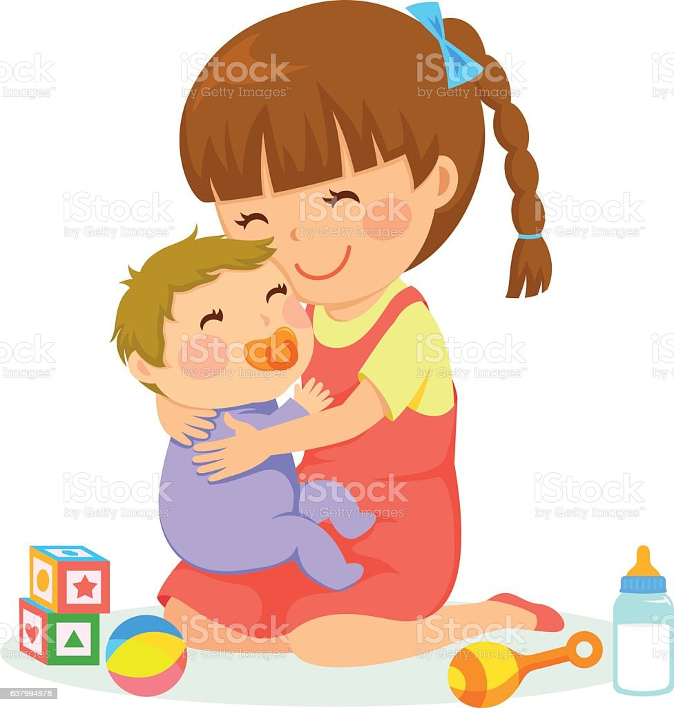 girl and baby vector art illustration