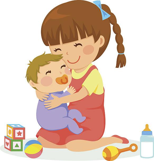ilustrações, clipart, desenhos animados e ícones de menina e bebê - irmã