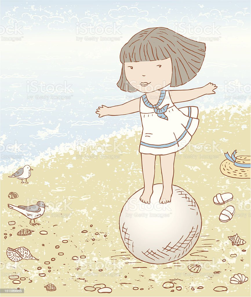 Girl and ball vector art illustration
