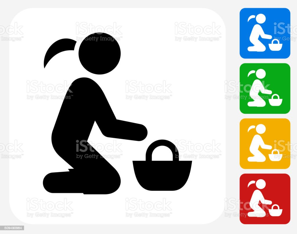 Girl and Basket Icon Flat Graphic Design vector art illustration