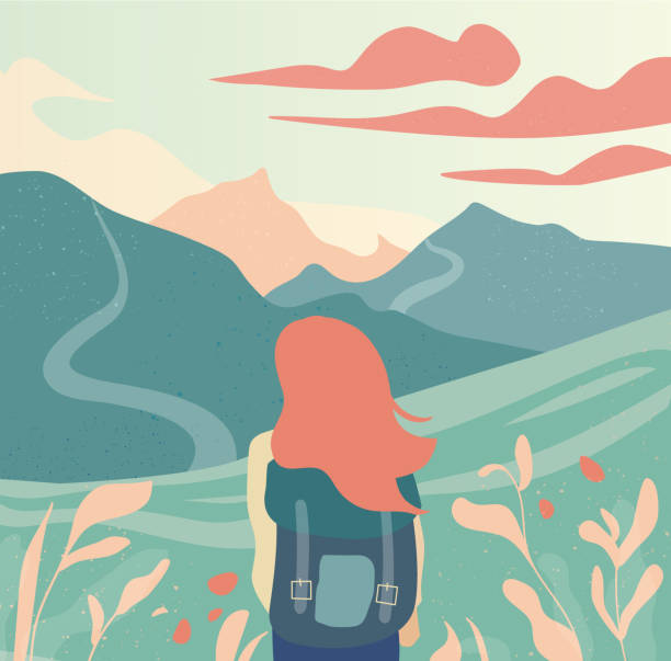 Girl and beautiful mountain landscape vector illustration. Girl and beautiful mountain landscape vector illustration. Journey vacation holiday outdoor concept. Travel, trip, adventure design hiking stock illustrations