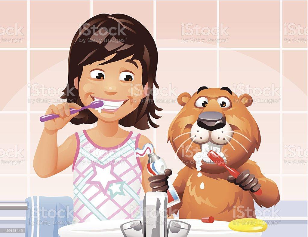 Girl and Beaver Brushing Teeth vector art illustration