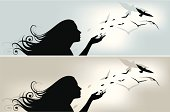 Illustration of a young girl scattering leafs that turn into birds.