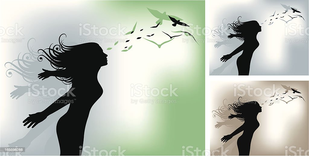 Girl and Birds royalty-free girl and birds stock vector art & more images of adult