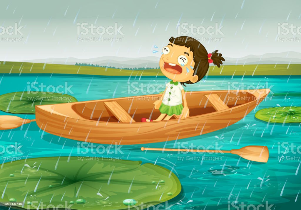 Girl and boat vector art illustration