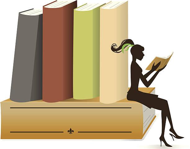 girl and books - heather mcgrath stock illustrations