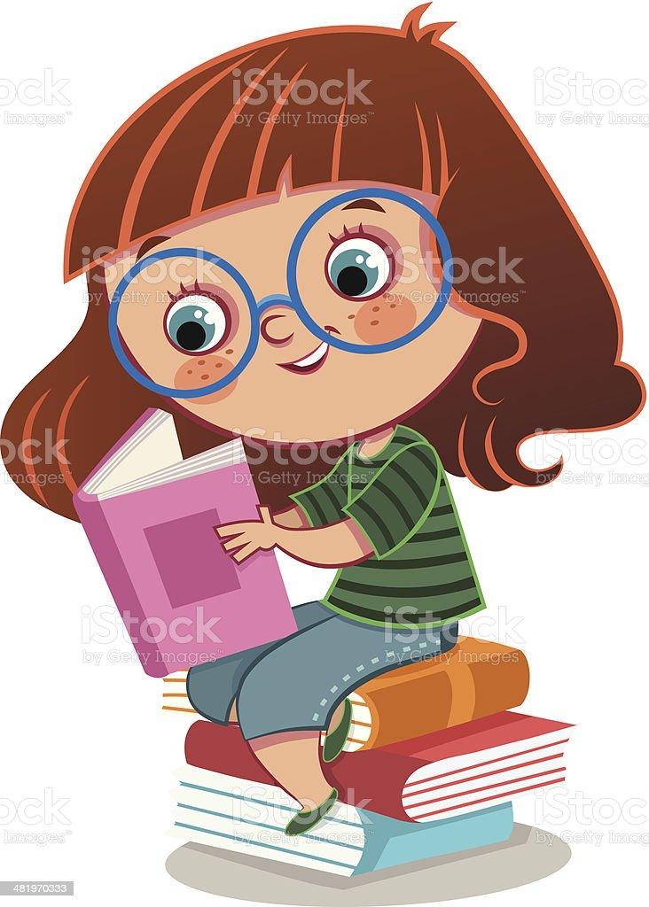 Girl And Books vector art illustration