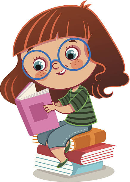 stockillustraties, clipart, cartoons en iconen met girl and books - a little girl reading a book