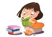 A cute little girl reading a book.