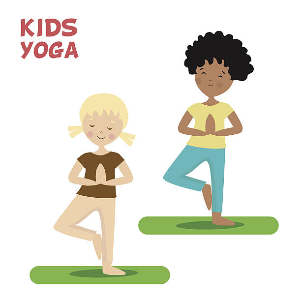 Girl And Boy Are Engaged In A Kids Yoga Sports Vector Art Illustration