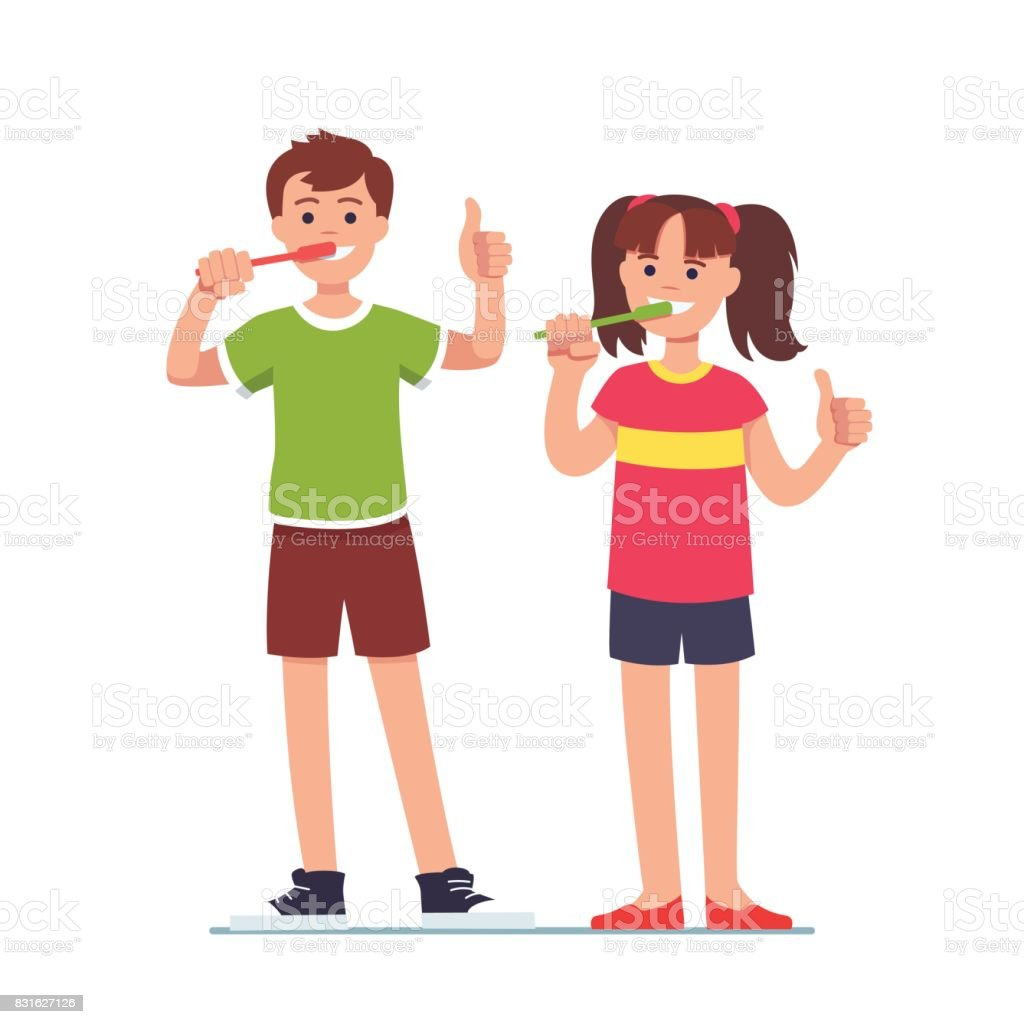 Girl and boy brushing teeth with toothbrushes vector art illustration