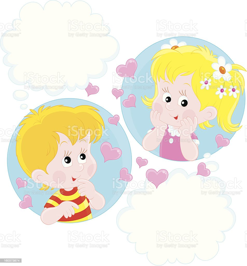 Girl and Boy dreaming royalty-free stock vector art