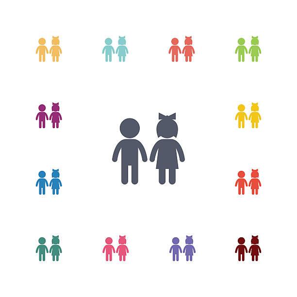 ilustrações, clipart, desenhos animados e ícones de menina e menino conjunto de ícones plana - filho