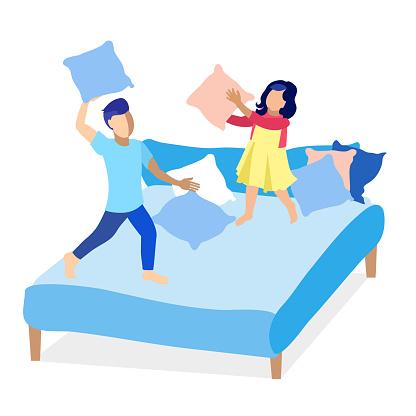 Girl and Boy Having Fun Fight with Pillows Cartoon
