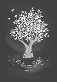 A vector illustration of kids hugging a tree showing a concept of loving environment. Chalkboard background with Hand drawn ribbon and text messaging. Can be a postcard, flyer, store window or poster. Earth day. Tree Hugging Day. Save Nature.