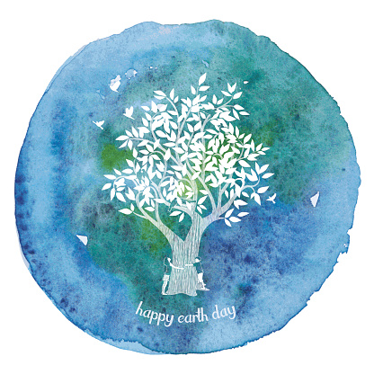 Girl And Boy Hugging Tree On Watercolor Paint Circle
