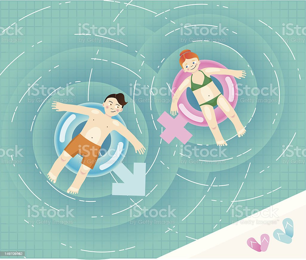 Girl and boy in a pool on flirty inflatable tubes royalty-free stock vector art