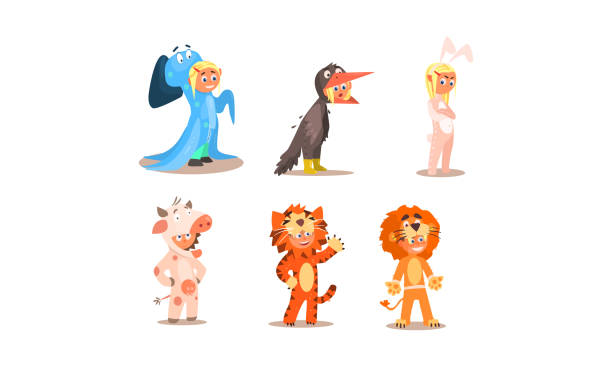 Girl and boy in different masquerade costumes set, ghost, bunny, cow, tiger, lion, vector Illustration Girl and boy in different masquerade costumes set, ghost, bunny, cow, tiger, lion, vector Illustration isolated on a white background. animal costume stock illustrations
