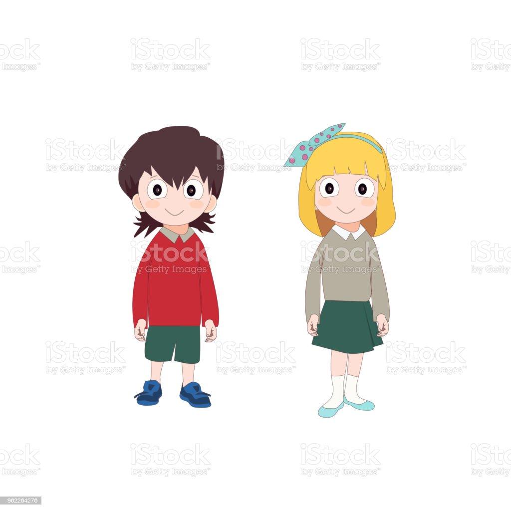 Vetores De Menina E Menino Em Uniforme Escolar Bonito Dos Desenhos
