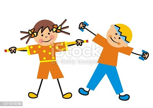 istock Girl and boy in the gym, vector illustration 1271570783
