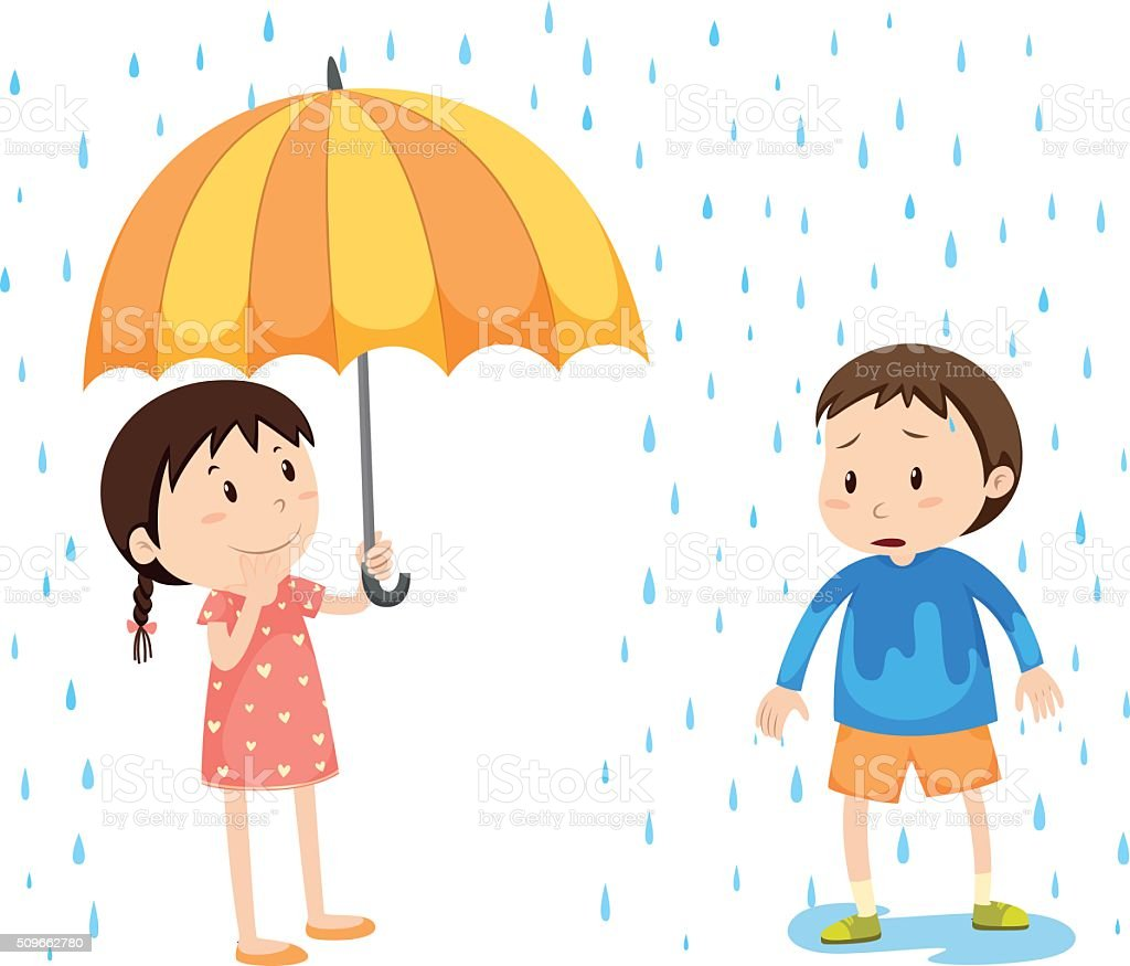 Girl and boy in the rain vector art illustration
