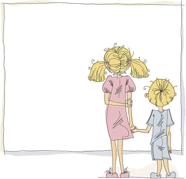 女の子と男の子にて空のボード - 姉妹点のイラスト素材/クリップアート素材/マンガ素材/アイコン素材