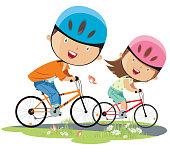 girl and boy on bicycle