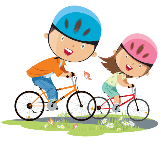 girl and boy on bicycle vector art illustration