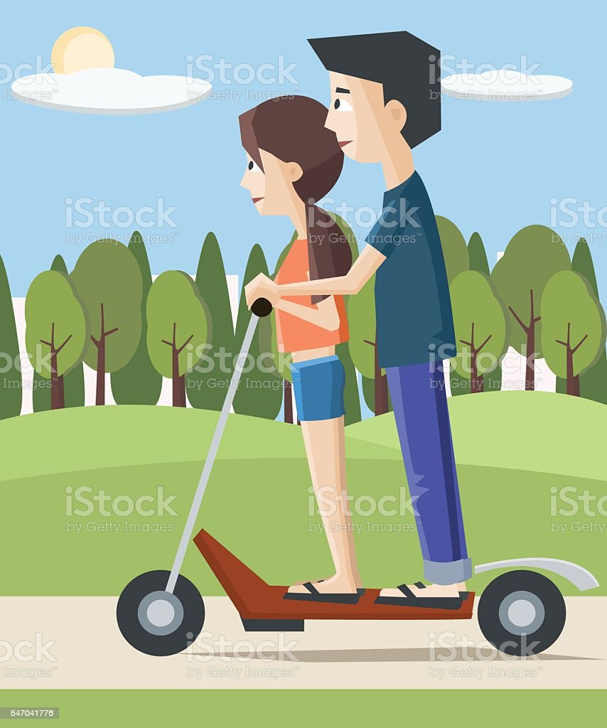 girl and boy on electric scooter at the city vector art illustration